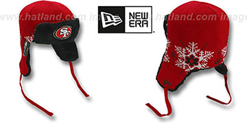 49ers SNOWFLAKE TRAPPER Red-Black Knit Hat by New Era