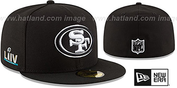 49ers SUPER BOWL LIV TEAM-BASIC Black-White Fitted Hat by New Era