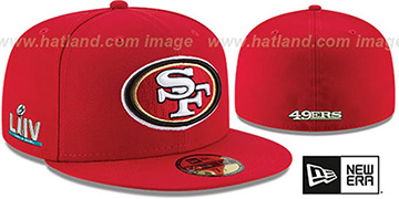 49ers SUPER BOWL LIV TEAM-BASIC Red Fitted Hat by New Era