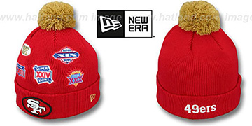 49ers SUPER BOWL PATCHES Red Knit Beanie Hat by New Era