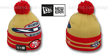49ers SUPER BOWL XIX Gold Knit Beanie Hat by New Era