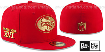 49ers 'SUPER BOWL XVI GOLD-50' Red Fitted Hat by New Era