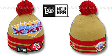 49ers SUPER BOWL XXIX Gold Knit Beanie Hat by New Era