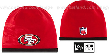 49ers 'TECH-KNIT STADIUM' Red-Black Knit Beanie Hat by New Era