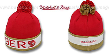 49ers THE-BUTTON Knit Beanie Hat by Michell & Ness