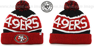 49ers 'THE-CALGARY' Red-Black Knit Beanie Hat by Twins 47 Brand
