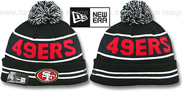 49ers THE-COACH Black-Black Knit Beanie Hat by New Era
