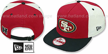 49ers 'TRIPLE MELTON STRAPBACK' Red-White-Black Hat by New Era
