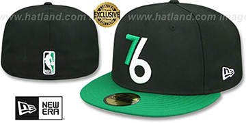 76ers 2T ALT OPPOSITE-TEAM Black-Green Fitted Hat by New Era
