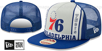 76ers BANNER FOAM TRUCKER SNAPBACK Hat by New Era