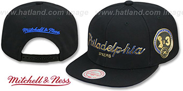 76ers CITY CHAMPS SCRIPT SNAPBACK Black Hat by Mitchell and Ness