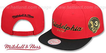 76ers CITY CHAMPS SCRIPT SNAPBACK Red-Black Hat by Mitchell and Ness