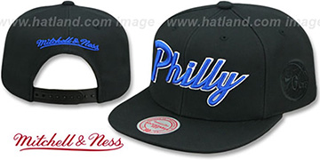 76ers CITY NICKNAME SCRIPT SNAPBACK Black Hat by Mitchell and Ness