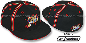 76ers 'DOUBLE DRIBBLE' Fitted Hat by Reebok - black