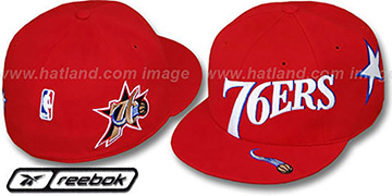 76ers ELEMENTS Fitted Hat by Reebok - red