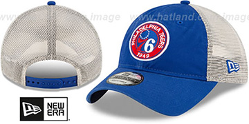 76ers ESTABLISHED CIRCLE TRUCKER SNAPBACK Hat by New Era