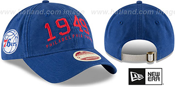 76ers 'ESTABLISHED YEAR STRAPBACK' Royal Hat by New Era