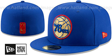 76ers GOLD METALLIC STOPPER Royal Fitted Hat by New Era