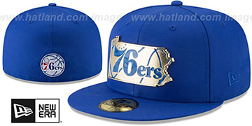 76ers GOLD STATED METAL-BADGE Royal Fitted Hat by New Era