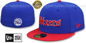 76ers GOTHIC TEAM-BASIC Royal-Red Fitted Hat by New Era
