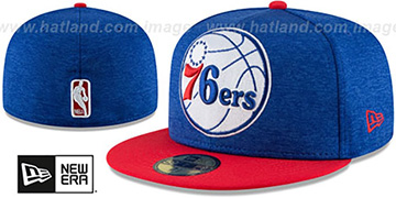 76ers HEATHER-HUGE Royal-Red Fitted Hat by New Era