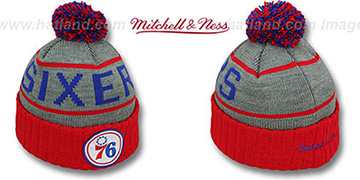 76ers HIGH-5 CIRCLE BEANIE Grey-Red by Mitchell and Ness
