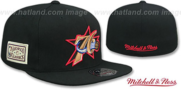 76ers HWC SIDE-PATCH Black Fitted Hat by Mitchell and Ness