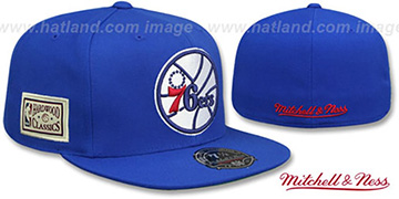 76ers HWC SIDE-PATCH Royal Fitted Hat by Mitchell and Ness