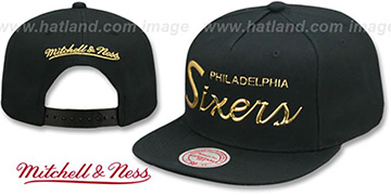 76ers 'LIQUID METALLIC SCRIPT SNAPBACK' Black-Gold Hat by Mitchell and Ness