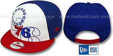76ers LITTLE-BIG POP SNAPBACK White-Royal-Red Hat by New Era