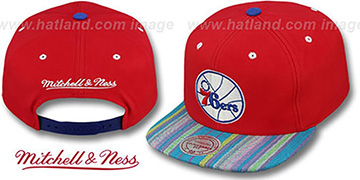 76ers 'NATIVE-STRIPE SNAPBACK' Red Hat by Mitchell & Ness