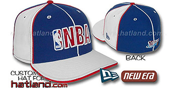 76ers NBA 'PINWHEEL-3' Royal-White Fitted Hat by New Era