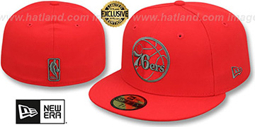 76ers NBA TEAM-BASIC Fire Red-Charcoal Fitted Hat by New Era