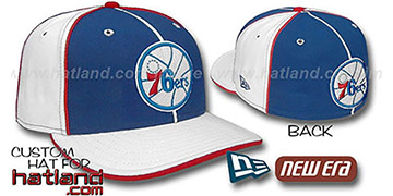 76ers 'OLD SCHOOL' PINWHEEL-3 Royal-White Fitted Hat