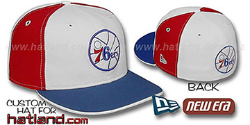 76ers OLD SCHOOL PINWHEEL White-Red Fitted Hat by New Era