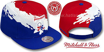 76ers PAINTBRUSH SNAPBACK Red-White-Royal Hat by Mitchell & Ness