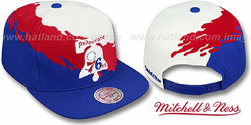 76ers PAINTBRUSH SNAPBACK White-Red-Royal Hat by Mitchell & Ness