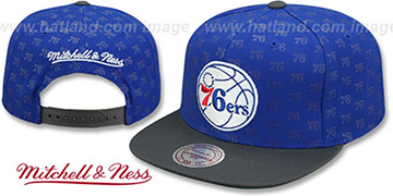76ers REPEAT-LOGO SNAPBACK Royal-Charcoal Hat by Mitchell and Ness