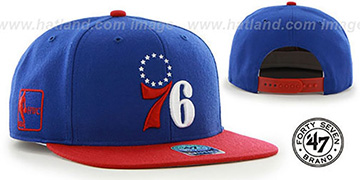 76ers 'SURE-SHOT SNAPBACK' Royal-Red Hat by Twins 47 Brand