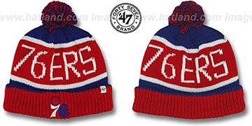 76ers 'THE-CALGARY' Red-Royal Knit Beanie Hat by Twins 47 Brand