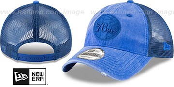 76ers TONAL-WASHED TRUCKER SNAPBACK Royal Hat by New Era
