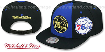 76ers TRIPLE STACK SNAPBACK Royal-Black Hat by Mitchell and Ness