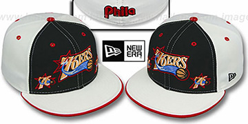76ers TRIPLE THREAT Black-White Fitted Hat by New Era