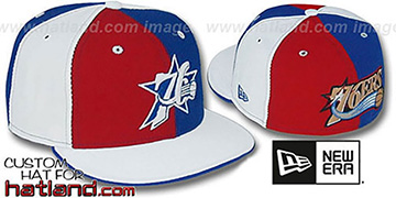76ers TWO BIG PINWHEEL Red-Royal-White Fitted Hat