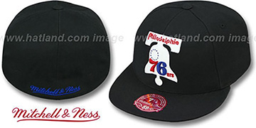 76ers 'XL-LOGO BASIC' Black Fitted Hat by Mitchell & Ness