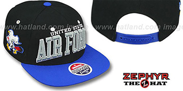 Air Force '2T SUPER-ARCH SNAPBACK' Black-Royal Hat by Zephyr