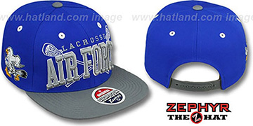 Air Force 'LACROSSE SUPER-ARCH SNAPBACK' Royal-Grey Hat by Zephyr