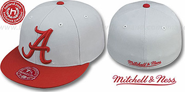 Alabama '2T XL-LOGO' Grey-Burgundy Fitted Hat by Mitchell & Ness