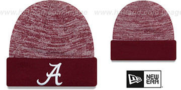 Alabama 'TEAM-RAPID' Burgundy-White Knit Beanie Hat by New Era