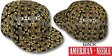 American Needle 'FOIL FOURSOME SKULLS' Black Fitted Hat